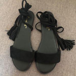 Shoes - 2 for $40 Black Lace Up Sandals